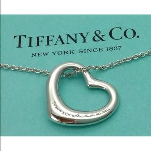 """Authentic Tiffany large heart necklace 22mm 16"""""""